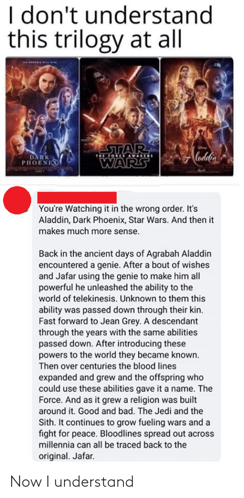 Ability: I don't understand  this trilogy at all  STAR  OCE AVARIS  Cadlin  DA RK  PHOENI  WARS  You're Watching it in the wrong order. It's  Aladdin, Dark Phoenix, Star Wars. And then it  makes much more sense.  Back in the ancient days of Agrabah Aladdin  encountered a genie. After a bout of wishes  and Jafar using the genie to make him all  powerful he unleashed the ability to the  world of telekinesis. Unknown to them this  ability was passed down through their kin.  Fast forward to Jean Grey. A descendant  through the years with the same abilities  passed down. After introducing these  powers to the world they became known.  Then over centuries the blood lines  expanded and grew and the offspring who  could use these abilities gave it a name. The  Force. And as it grew a religion was built  around it. Good and bad. The Jedi and the  Sith. It continues to grow fueling wars and a  fight for peace. Bloodlines spread out across  millennia can all be traced back to the  original. Jafar. Now I understand
