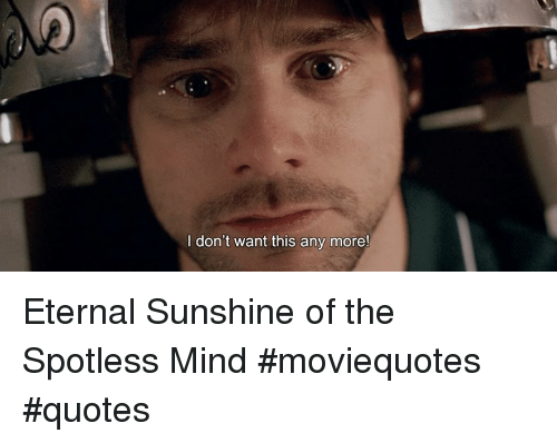 I Don\'t Want This Any More! Eternal Sunshine of the Spotless ...