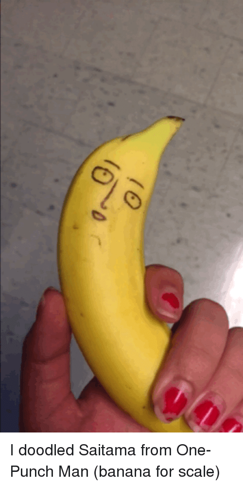 One-Punch Man: I doodled Saitama from One-Punch Man (banana for scale)