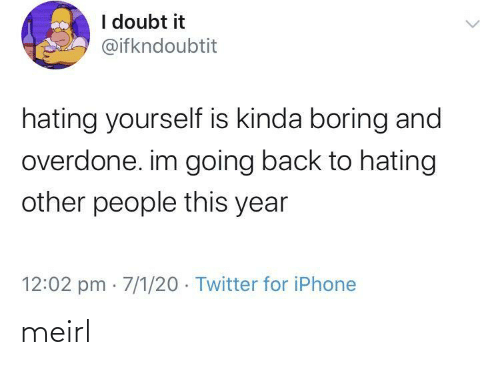 kinda: I doubt it  @ifkndoubtit  hating yourself is kinda boring and  overdone. im going back to hating  other people this year  12:02 pm · 7/1/20 · Twitter for iPhone meirl