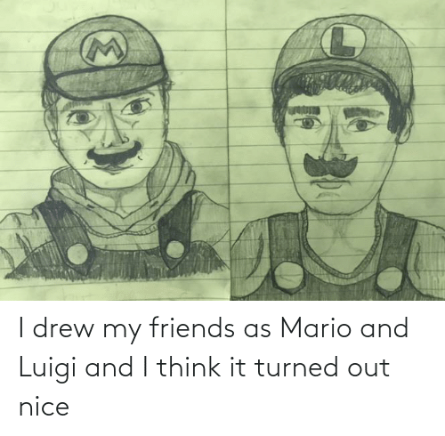 Mario: I drew my friends as Mario and Luigi and I think it turned out nice