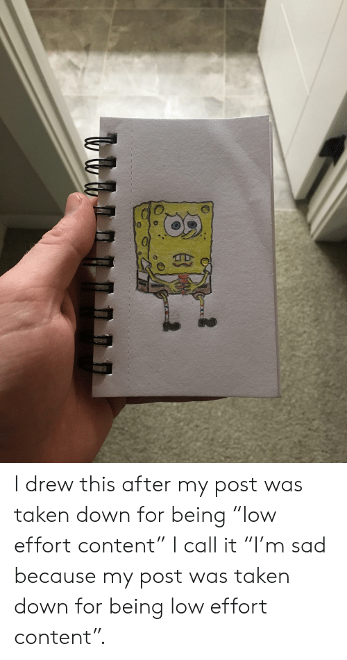 """I Drew This: I drew this after my post was taken down for being """"low effort content"""" I call it """"I'm sad because my post was taken down for being low effort content""""."""