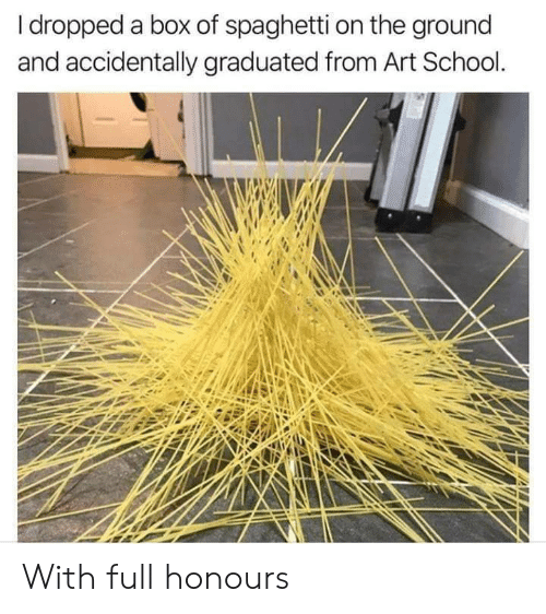 School, Spaghetti, and Art: I dropped a box of spaghetti on the ground  and accidentally graduated from Art School. With full honours