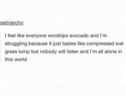 Being Alone, Avocado, and World: I feel like everyone worships avocado and I'm  struggling because it just tastes like compressed wet  grass lump but nobody will listen and I'm all alone in  this world