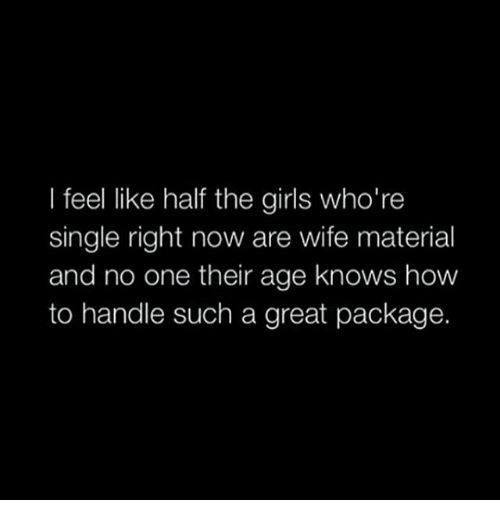 Whoring: I feel like half the girls who're  single right now are wife material  and no one their age knows how  to handle such a great package.