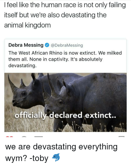 absolution: I feel like the human race is not only failing  itself but we're also devastating the  animal kingdom  Debra Messing  @DebraMessing  The West African Rhino is now extinct. We milked  them all. None in captivity. It's absolutely  devastating.  officially declared extinct.. we are devastating everything wym? -toby 🐬