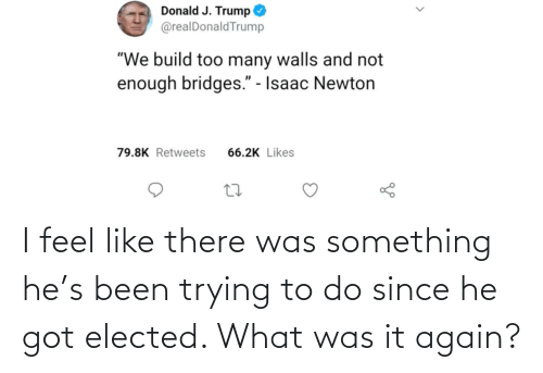 Trying To Do: I feel like there was something he's been trying to do since he got elected. What was it again?