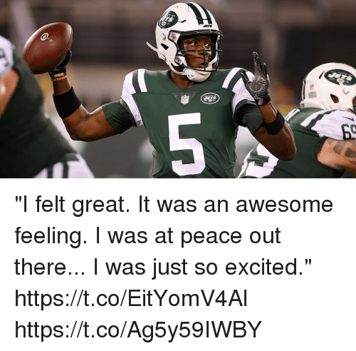 "Memes, Awesome, and Peace: ""I felt great. It was an awesome feeling. I was at peace out there... I was just so excited."" https://t.co/EitYomV4Al https://t.co/Ag5y59IWBY"