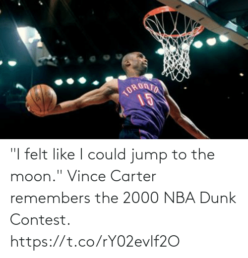 "Moon: ""I felt like I could jump to the moon.""  Vince Carter remembers the 2000 NBA Dunk Contest.   https://t.co/rY02evlf2O"