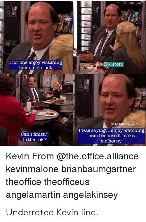 Horny, The Office, and Office: I for one enjoy watching  them make out  o, stopl  eThe  Can I finish?  Is that ok?  I was saying, I enjoy watching  them because it makes  me horny.  Kevin From @the.office.alliance  kevinmalone brianbaumgartner  theoffice theofficeus  angelamartin angelakinsey Underrated Kevin line.