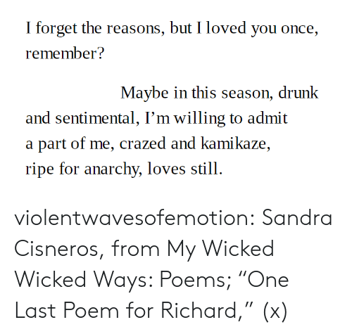"Drunk, Tumblr, and Blog: I forget the reasons, but I loved you once,  remember?  Maybe in this season, drunk  and sentimental, I'm willing to admit  a part of me, crazed and kamikaze,  ripe for anarchy, loves still. violentwavesofemotion:  Sandra Cisneros, from My Wicked Wicked Ways: Poems; ""One Last Poem for Richard,"" (x)"