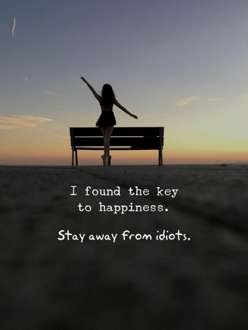 Happiness, Key, and Stay: I found the key  to happiness.  Stay away from idiots