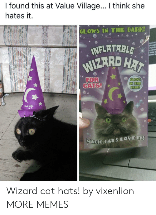 hai: I found this at Value Village... I think she  hates it.  GLOWS IN THE DARK!  INFLATABLE  WIZARD HAI  orvacy  are usd  wit  FOR  CATS!  GLOWS  IN THE  DARK!  FAdMTR  MAGIC CATSLOVE IT! Wizard cat hats! by vixenlion MORE MEMES