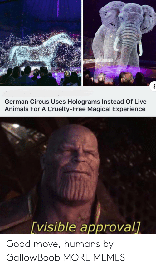 Approval: i  German Circus Uses Holograms Instead Of Live  Animals For A Cruelty-Free Magical Experience  [visible approval] Good move, humans by GallowBoob MORE MEMES