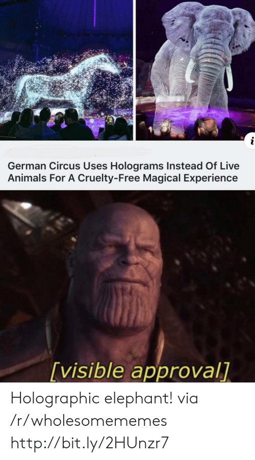 Approval: i  German Circus Uses Holograms Instead Of Live  Animals For A Cruelty-Free Magical Experience  [visible approval] Holographic elephant! via /r/wholesomememes http://bit.ly/2HUnzr7