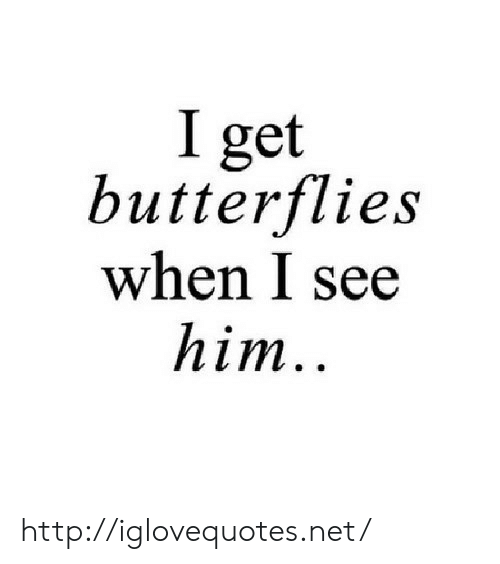 Http, Net, and Him: I get  butterflies  when I see  him http://iglovequotes.net/