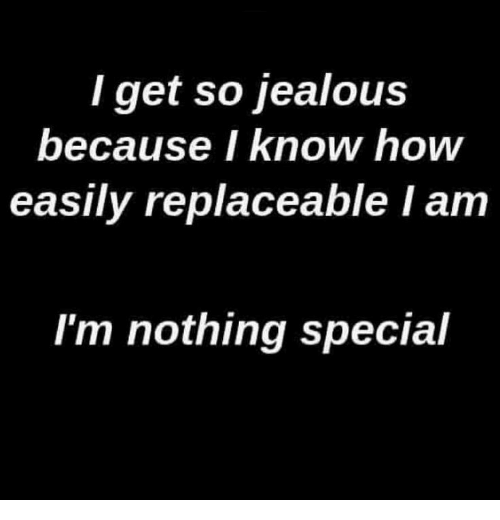 So Jealous: I get so jealous  because I know how  easily replaceable I am  I'm nothing special