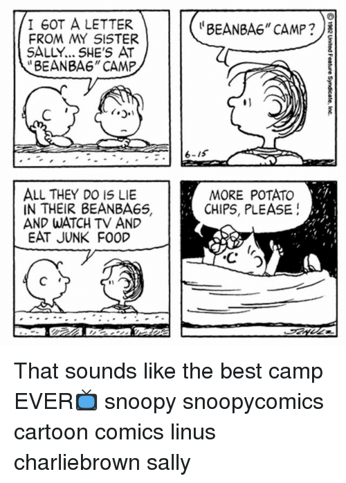 """Bean Bagged: I GOT A LETTER  FROM MY SISTER  SALLY... SHE'S AT  """"BEANBA6"""" CAMP  """"BEAN BAG"""" CAMP ?  6-15  ALL THEY DO IS LIE  IN THEIR BEANBAGS,  AND WATCH TV AND  EAT JUNK FOOD  MORE POTATO  CHIPS, PLEASE!  5  2  4  4 That sounds like the best camp EVER📺 snoopy snoopycomics cartoon comics linus charliebrown sally"""