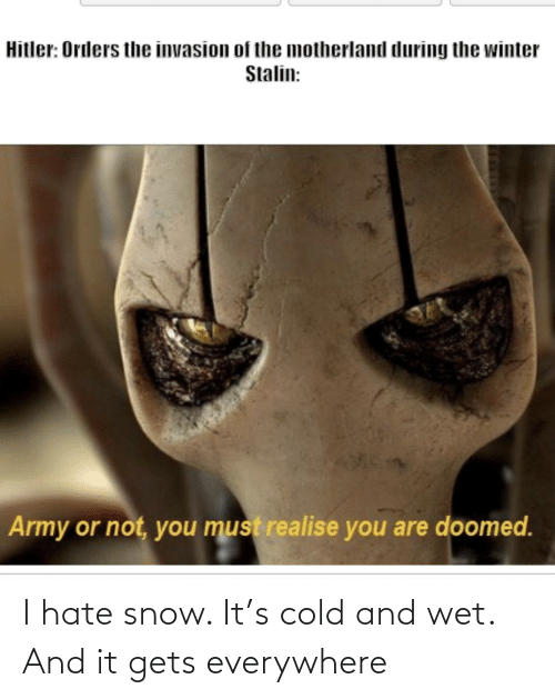 Hate Snow: I hate snow. It's cold and wet. And it gets everywhere
