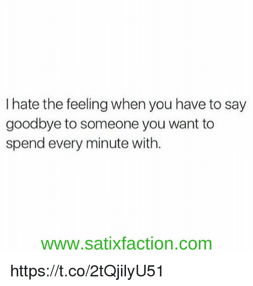 Goodbyee: I hate the feeling when you have to say  goodbye to someone you want to  spend every minute with.  www.satixfaction.com https://t.co/2tQjilyU51