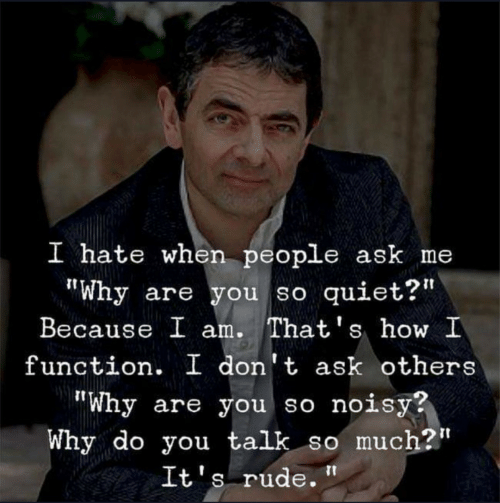 "Rude, Quiet, and How: I hate when people ask me  ""Why are you so quiet?'  Because I am. That's how I  function. I don't ask others  ""Why are you so noisy?  Why do you talk so much?""  It's rude."