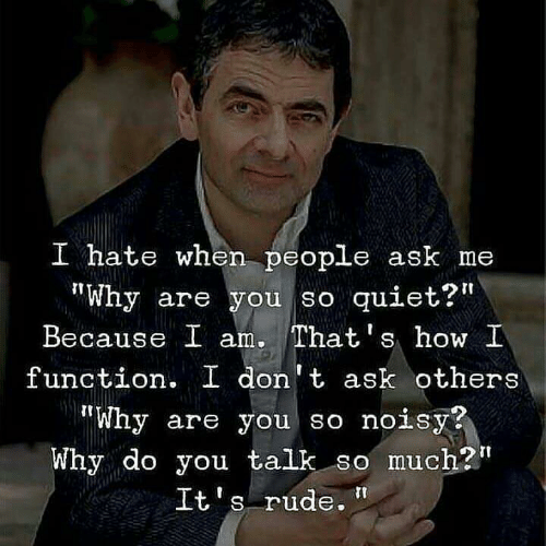 """Rude, Quiet, and How: I hate when people ask me  """"Why are you so quiet?""""  Because I am. That's how I  function. I don't ask others  """"Why are you so noisy?  Why do you talk so much?t  S rude."""