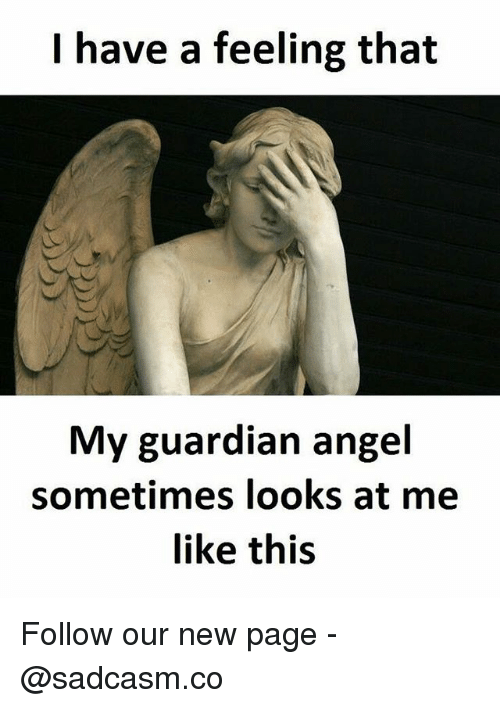 Memes, Angel, and Guardian: I have a feeling that  My guardian angel  sometimes looks at me  like this Follow our new page - @sadcasm.co