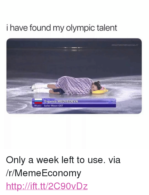 "Music, Sailor Moon, and Http: I have found my olympic talent  Evgenia MEDVEDEVA  Sailor Moon OST  Music: <p>Only a week left to use. via /r/MemeEconomy <a href=""http://ift.tt/2C90vDz"">http://ift.tt/2C90vDz</a></p>"