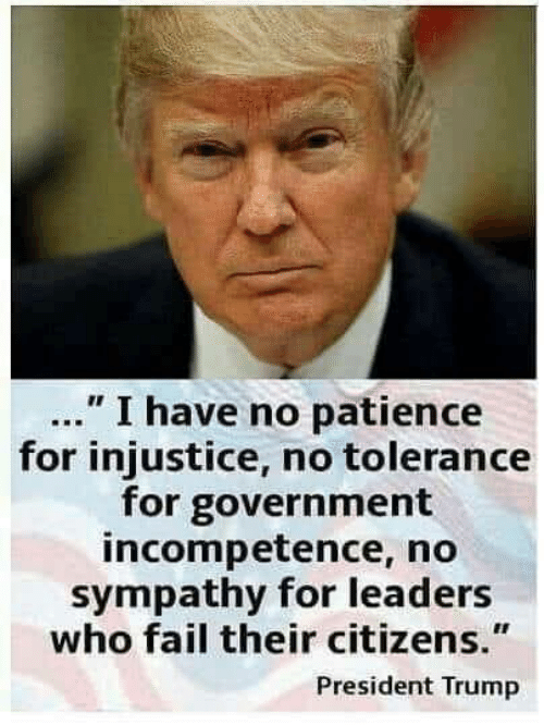 "Fail, Memes, and Patience: "" I have no patience  for injustice, no tolerance  for government  incompetence, no  sympathy for leaders  who fail their citizens.""  President Trump"