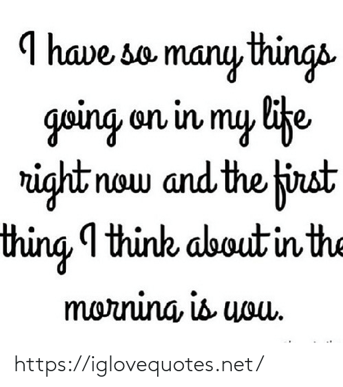 Life, Net, and Think: I have so many things  going on in my life  right now and the first  thing I think about in the  morning, is uouu. https://iglovequotes.net/