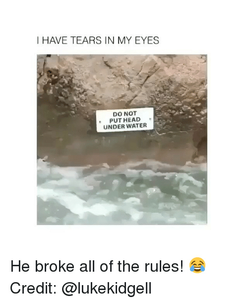 Memes, Water, and All of The: I HAVE TEARS IN MY EYES  DO NOT  PUTHEAD  UNDER WATER He broke all of the rules! 😂 Credit: @lukekidgell
