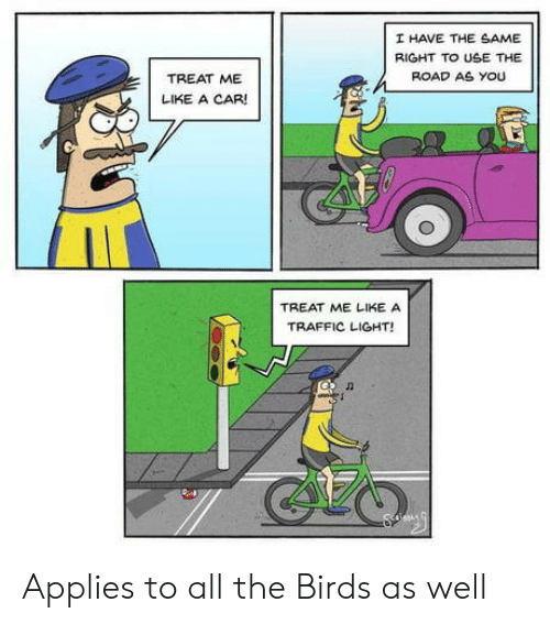 Traffic, Birds, and The Birds: I HAVE THE SAME  RIGHT TO USE THE  ROAD AS YOU  TREAT ME  LIKE A CAR!  TREAT ME LIKE A  TRAFFIC LIGHT!  CLO Applies to all the Birds as well