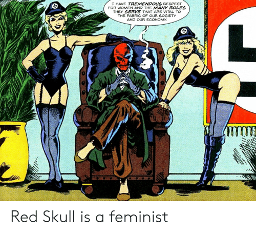 Our Society: I HAVE TREMENDOUS RESPECT  FOR WOMEN AND THE MANY ROLES  THEY SERVE THAT ARE VITAL TO  THE FABRIC OF OUR SOCIETY  AND OUR ECONOMY Red Skull is a feminist