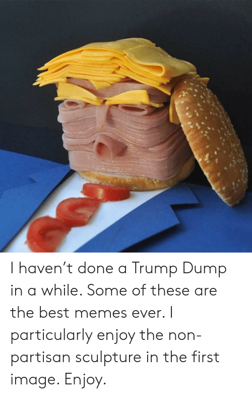 Memes Ever: I haven't done a Trump Dump in a while. Some of these are the best memes ever.  I particularly enjoy the non-partisan sculpture in the first image.  Enjoy.