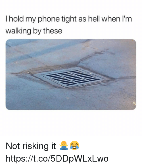 Phone, Hell, and Hold: I hold my phone tight as hell when I'm  walking by these Not risking it 🙅♂️😂 https://t.co/5DDpWLxLwo