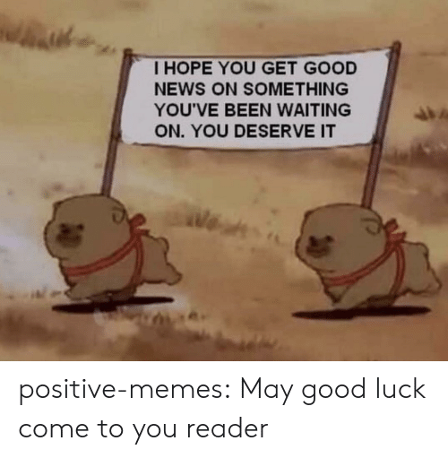 Get Good: I HOPE YOU GET GOOD  NEWS ON SOMETHING  YOU'VE BEEN WAITING  ON. YOU DESERVE IT positive-memes: May good luck come to you reader