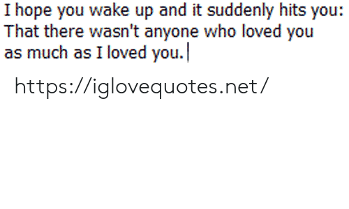 Hope, Net, and Who: I hope you wake up and it suddenly hits you:  That there wasn't anyone who loved you  as much as I loved you. https://iglovequotes.net/