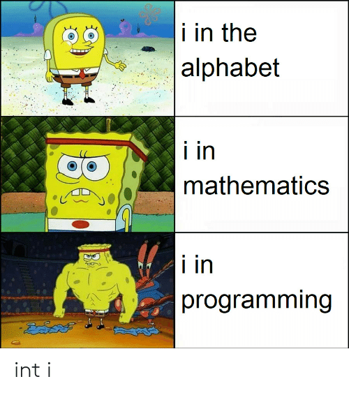 Alphabet: i in the  |alphabet  i in  mathematics  i in  programming int i