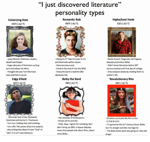 """Femination: """"I just discovered literature  33  personality types  Highschool Hank  Romantic Rob  Colonizing Kate  INFP AV.)  ENTJ (-AV-T)  Loves Bronte, Dickinson, Austen,  -Doing his 5 hike this year to try  Reads Orwel, Fitzgerald, Hemingway,  Woolf and Chopin.  and find truth within nature.  Atwood and Arthur Miller.  -Huge advocate of Feminism as long  Honorary boy scout.  -Didn't know literature before 20  -Cried at the end of Into the Wild.  century existed untilfirst day of college.  as it centralizes the West.  -Thought she saw Toni Morrison  -Favourite band is Sublime (fikn  -Only analyses books by relating them to  once and hid in abush.  obviously lol).  author's life.  Edgy Elliott  Betty the Bard  Revolutionary Rita  SFP  INFU AV-T)  Worships holy trinity. Bukowski.  Has tattoo(s) of Shakespeare  -(Finishes any book) Mylife is liel  Palahniuk and Hunter S. Thompson.  Knows all his sonnets  COMRADE  -Turn ons: Cutting class and smoking.  Yeah, okay, I agree he's amazing but  I'm gonna be the 21 Century Oscar Wilde  -Turn offs: The system (fuck the system).  don't bring up 2001:ASpace Odyssey  but rm straight and like marriage lol.  -Any writing that doesn't have fuck"""" or  every time people talk about films, okay?  -The Beats knew what was going on, they did  """"shit"""" in it isn't real literature.  Jesus Betty..."""