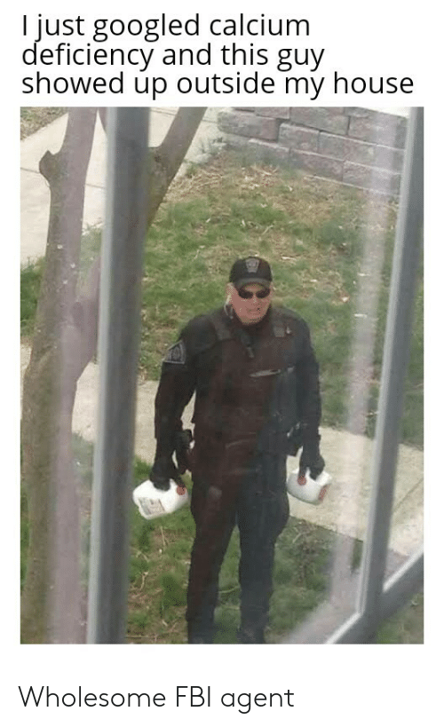 Fbi, My House, and House: I just googled calcium  deficiency and this guy  showed up outside my house Wholesome FBI agent
