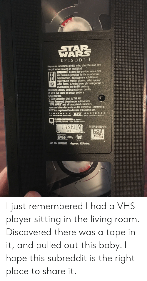 vhs: I just remembered I had a VHS player sitting in the living room. Discovered there was a tape in it, and pulled out this baby. I hope this subreddit is the right place to share it.