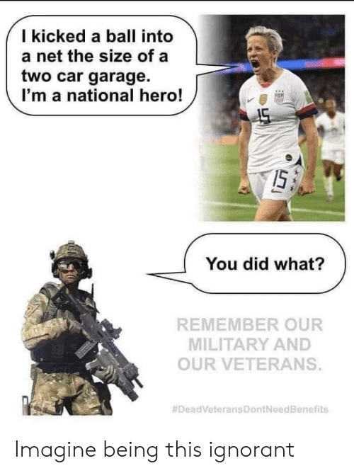Ignorant, Military, and Hero: I kicked a ball into  a net the size of a  two car garage.  I'm a national hero!  45  I5.  You did what?  REMEMBER OUR  MILITARY AND  OUR VETERANS.  Imagine being this ignorant