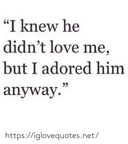 "love me: ""I knew he  didn't love me,  but I adored him  99  anyway."" https://iglovequotes.net/"
