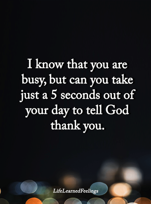 God, Memes, and Thank You: I know that you are  busy, but can you take  just a 5 seconds out of  your day to tell God  thank you.  LifeLearnedFeelings