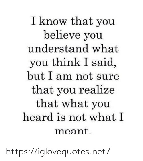 Meant: I know that you  believe you  understand what  you think I said,  but I am not sure  that you realize  that what you  heard is not what I  meant. https://iglovequotes.net/