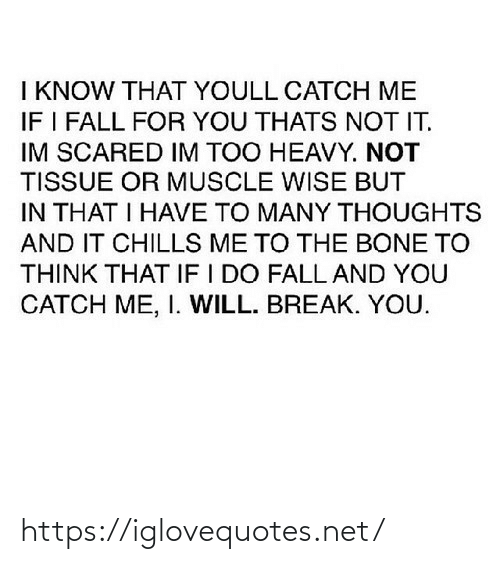 chills: I KNOW THAT YOULL CATCH ME  IF I FALL FOR YOU THATS NOT IT.  IM SCARED IM TOO HEAVY. NOT  TISSUE OR MUSCLE WISE BUT  IN THAT I HAVE TO MANY THOUGHTS  AND IT CHILLS ME TO THE BONE TO  THINK THAT IF I DO FALL AND YOU  CATCH ME, I. WILL. BREAK. YOU. https://iglovequotes.net/