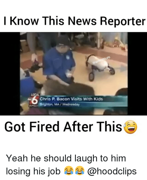 brightons: I Know This News Reporter  A Chris P Bacon Visits With Kids  Brighton, MA Wednesday  Got Fired After This Yeah he should laugh to him losing his job 😂😂 @hoodclips