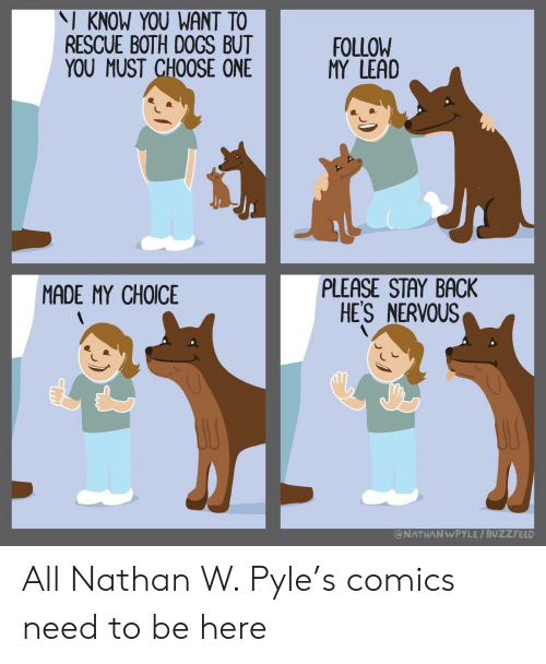please stay: I KNOW YOU WANT TO  RESCUE BOTH DOGS BUT  YOU MUST CHOOSE ONE  FOLLOW  MY LEAD  PLEASE STAY BACK  HES NERVOUS  MADE MY CHOICE  @NATHANWPYLE / BUZZFEED All Nathan W. Pyle's comics need to be here