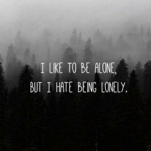 Being Alone, Lonely, and Hate: I LIKE TO BE ALONE,  BUT I HATE BEING LONELY.
