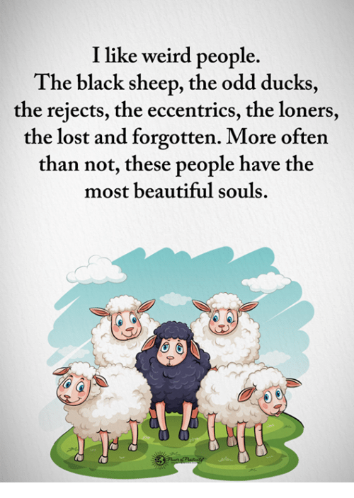 Beautiful, Memes, and Weird: I like weird people.  The black sheep, the odd ducks  the rejects, the eccentrics, the loners,  the lost and forgotten. More often  than not, these people have the  most beautiful souls